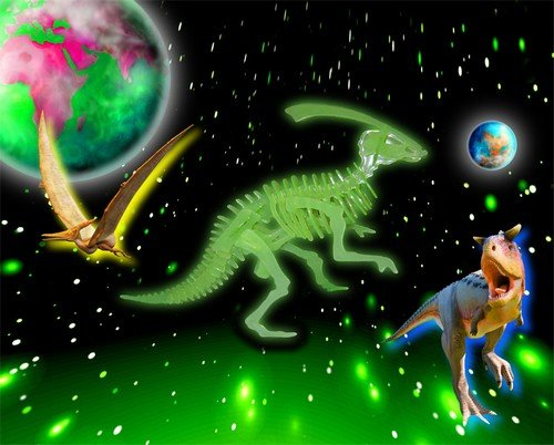 Cheap Puzzled Dinosaur 3D Jigsaw Glow In The Dark Construction Kit (B000R3SM1O)