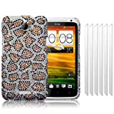 HTC One X Leopard Spots Diamante Case / Cover / Shell / Shield + 6-in-1 Screen Protector Pack Part Of The Qubits Accessories Rangeby Qubits
