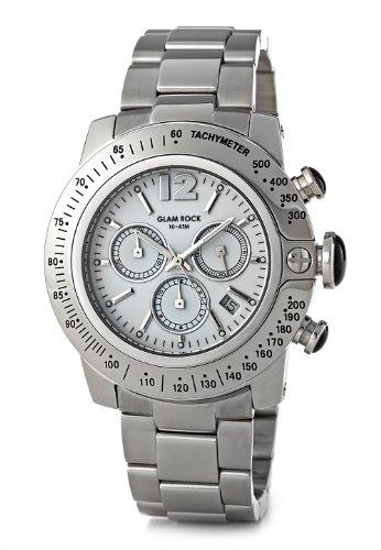 Glam Rock - GR32128 - Sobe - Montre Homme - Quartz Chronographe - Cadran Blanc - Bracelet Acier Gris