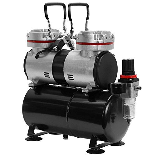 PointZero Pro Airbrush Air Compressor Twin Piston w/ Tank 1/3 HP