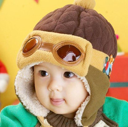 Weshop® - Cute Children Winter Hippie Ear Flaps Hat Lei Feng Cap With Glasses Coffee front-1026388