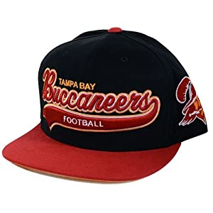 Tampa Bay Buccaneers Tailsweeper Brushed Twill Script Black Snapback Hat by Mitchell & Ness