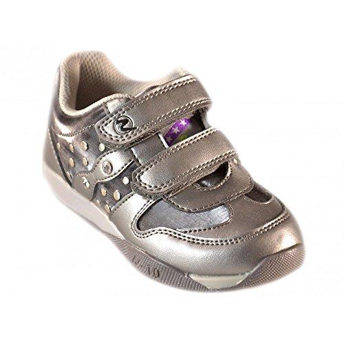 Naturino - Naturino Scarpe Bambina Acciaio Antracite Pelle Strappi Velcro Strass Sport 408 - Grigio, 25