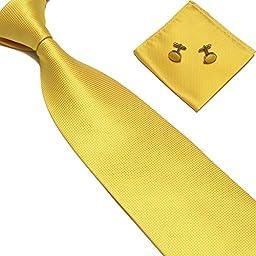 Stylefad Men\'s Solid Plaid Wide Neck Tie Set Hanky Cufflink Yellow