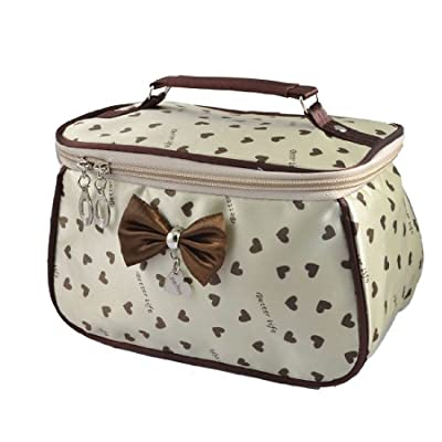 Rosallini Lady Heart Print Bowknot Accent Zip Up Closure Cosmetic Bag Purse Beige by Rosallini