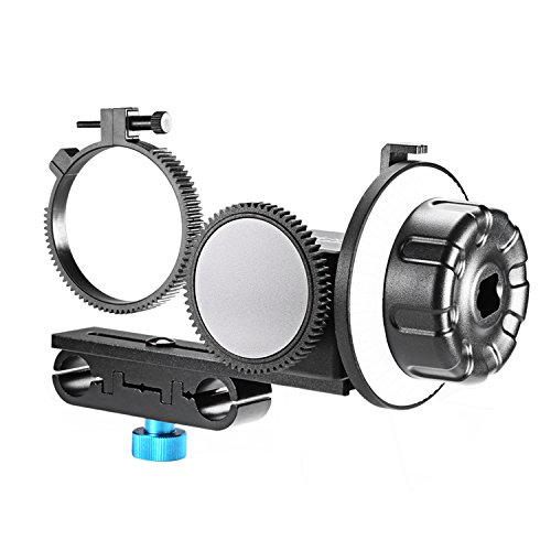 Neewer® Follow Focus CN-90F with Gear Ring Belt for DSLR Cameras of 65mm-103mm Lens Diameter Such as Nikon,Canon,Sony DV/Camcorder/Film/Video Cameras,Fits 15mm Rod Mounts,Shoulder Supports