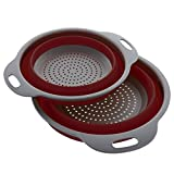 Kitchen Maestro Collapsible Silicone Colander/Strainer. Includes 2 Sizes 8 and 9.5 inch. ... (Red)