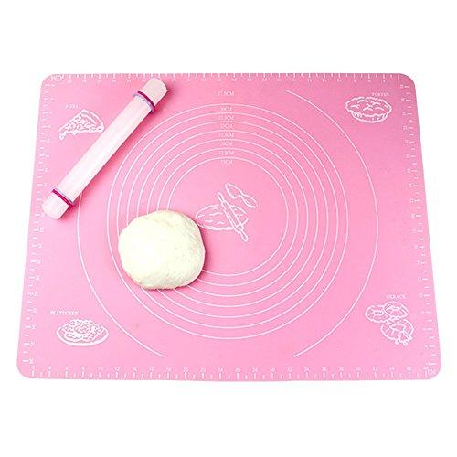 Japace® Tapis de Cuisson en Silicone , Anti-Adhésive Feuille à Pâtisserie avec Guide de Mesure pour la Pâte , Gâteau , Fondant , Biscuits , Pizza, Pain, Desserts - Rose