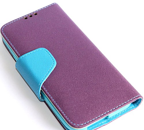 Mylife Plum Purple + Electric Blue {Modern Design} Faux Leather (Card, Cash And Id Holder + Magnetic Closing) Slim Wallet For The All-New Htc One M8 Android Smartphone - Aka, 2Nd Gen Htc One (External Textured Synthetic Leather With Magnetic Clip + Intern