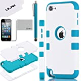Pandamimi ULAK(TM) Hybrid 3 Layer Hard Case Cover with Silicone Soft Shell Inside Case for Apple iPod Touch Generation 5 + Stylus + Screen Protector (White/Blue)