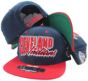 Cleveland Indians Navy Red Fusion Angler Snapback Hat Cap by American Needle