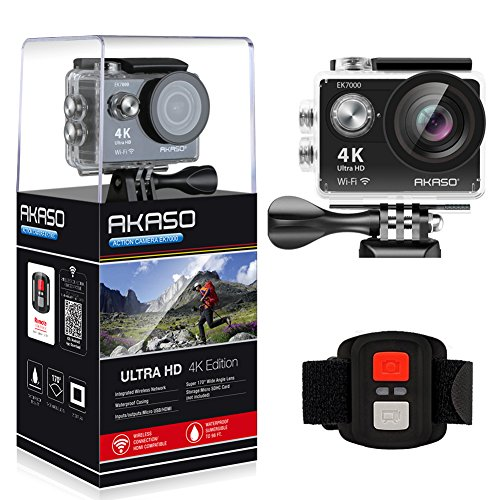 AKASO EK7000 4K WIFI Sports Action Camera Ultra HD Waterproof DV Camcorder 12MP 170 Degree Wide Angle 2 inch LCD Screen/2.4G Remote Control/2 Rechargeable Batteries/19 Mounting Kits-Black