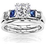 Cushion Moissanite Sapphire and Diamond Bridal Rings Set 1 1/2ct (ctw) in 14k White Gold