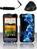 Mobile accessories HTC One V Blue Flower Case Cover Protector Design Snap on Hard Shell Faceplate AND HiShop(TM) Stylus, Guitar Pick/Pry Tool