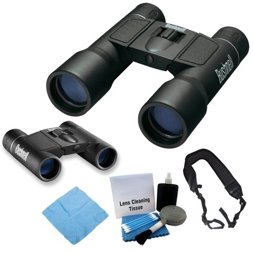 Bushnell Powerview 10X32Mm Compact Folding Roof Prism Binocular With Bushnell Powerview 8X21 Folding Roof Prism Binoculars + Microfiber Cloth And Lens Pen Cleaning Kit + Wide Strap