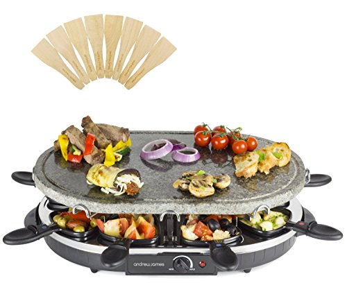 Andrew James Rustic Stone Raclette Grill with Thermostatic Heat Control - Includes Eight Raclette Spatulas