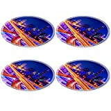 Liili Round Coasters 4 Pieces per order shanghai elevated road junction and interchange overpass at night Image ID 22942508