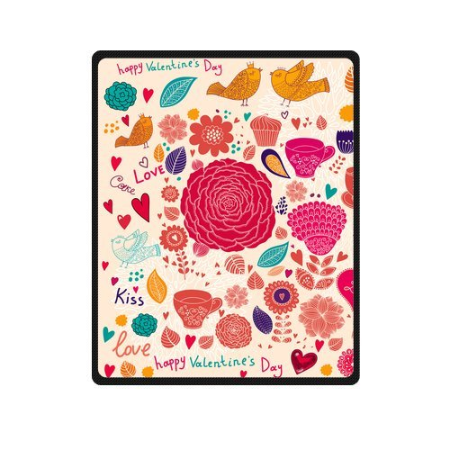Personalized Fashion Happy Valentine'S Day With Flowers Picture Fleece Blanket 40 X 50 back-1075622