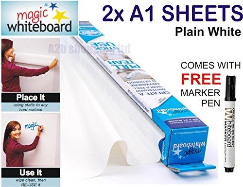 magic-tableau-blanc-2-x-a1-feuilles-autocollantes-effacable-marqueur-sans