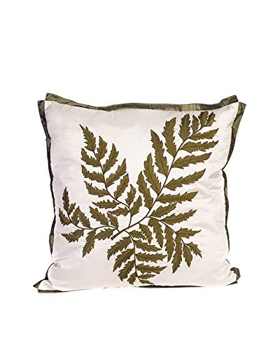 Cloud 9 Embroidered Fern Lumbar Pillow, Ivory