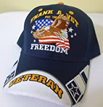Thank a Vet for Your Freedom, Patriotic Bald Eagle with American Flag NAVY BLUE Adjustable Cap, Military Veteran, Patriotic Hat with Stripes on Bill, Black with White Stripes with Striking Design, Adjustable Strap to Fit Most Men, Women and Older Teens