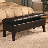 Coaster Button-Tufted Design Storage Bench, Brown Leatherette