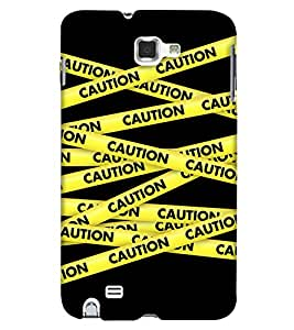 PrintHaat Hard Polycarbonate Designer Back Case Cover for Samsung Galaxy Note N7000 :: Samsung Galaxy Note I9220 :: Samsung Galaxy Note 1 :: Samsung Galaxy Note Gt-N7000 (caution yellow stripes crossing each other on black background)
