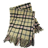 John Hanly & Co. Lambswool Large Blanket-Cream/Black Plaid-Irish Made