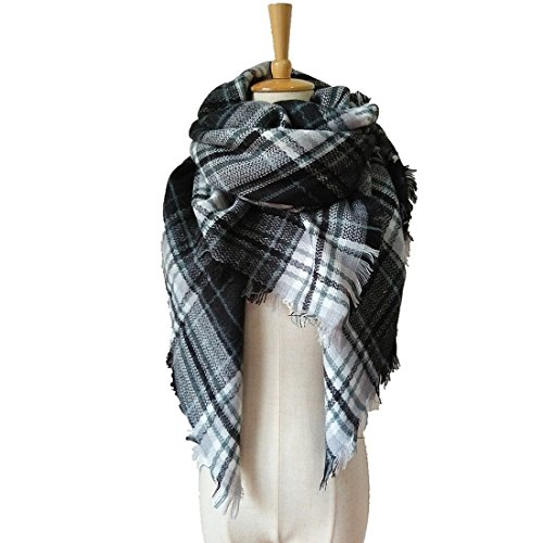 VINNEL® Tartan Fashion Scarfs for Women Lovely Best Gift Scarf Wrap Shawl (Black white)