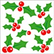 Christmas Gel Art Glitter Holly Window Decorations - Medium sized pack of 3D Printed Gels that stick to windows & mirrors etc