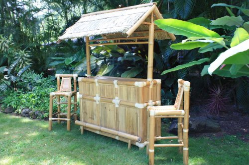 BAMBOO TIKI BAR - ISLAND TIKI BAR NATURAL W/ 3 BAR STOOLS - TROPICAL DECOR