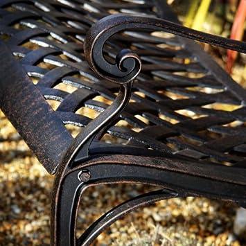Banc de jardin grace en en aluminium design 39 fer forg 39 bronze ancien jardin z96 - Mobilier de jardin fer forge ancien ...