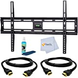 "Ultra Slim Flat Wall Mount for Samsung 65"" for (HG65NB890, HG65NC890, UN65D8000, UN65EH6000, UN65ES6500, UN65ES8000, UN65F6400, UN65F7050, UN65F8000, UN65H6300, UN65H6350, UN65H6400, UN65H7100, UN65H7150, UN65HU7200, UN65HU7250, UN65HU8550, UN65HU8700, UN65H8000, UN65H6203, UN65HU8550, UN65F9000, UN65HU8700, UN65F6300, UN65HU9000, UN65F7100) Tvs. Includes Tilt Wall Mount + 2 HDMI Cables + TV Cleaner Set + Microfiber Cleaning Cloth"