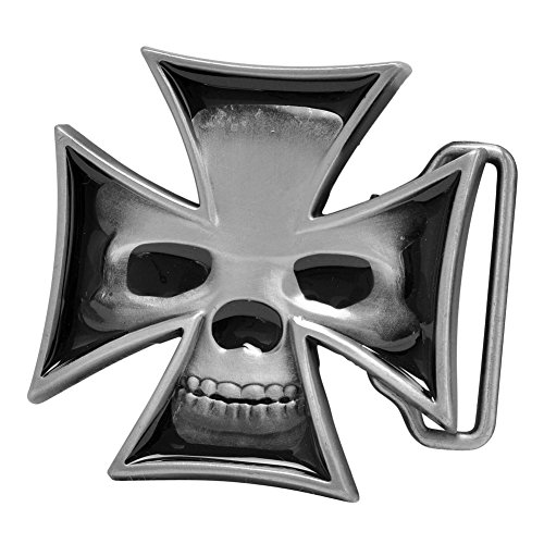 Buckle Rage Adult Mens Maltese Iron Cross Skull Biker Enamel Belt Buckle Black