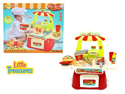 Baby Sized Fast Food Shop - Easy food play set for 3+ kids 23pcs included City food stand with cash register & drawer, fries, pizza slice, drumstick, sausage burger, ice cream box and drink (Pizza Ice Cream compare prices)