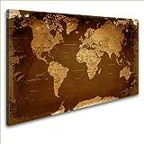 LanaKK Canvas Art Print on Stretcher Frame World Map Retro Dark, brown, 100 x 70 cm, 1-piece