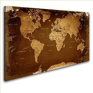 LanaKKWeltkarte Retro Darkedel Leinwand Bild Kunstdruck auf Keilrahmen, fertig gerahmt in 100 x 70 cm, 1teilig    Überprüfung und weitere Informationen