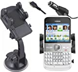 Mobilizers: 2 in 1 In Car Windscreen Suction Mount Holder Cradle + Car Charger Kit for Nokia E5-00