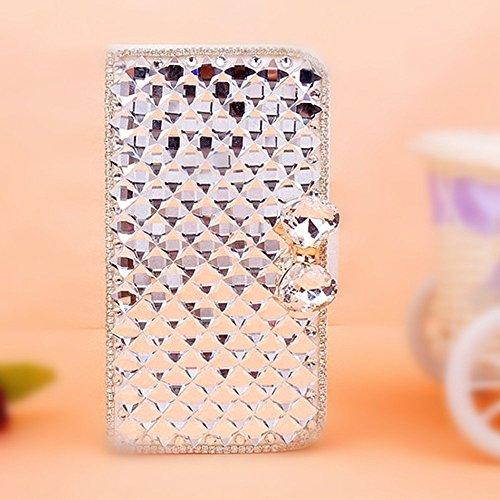 EVTECH (TM) - Custodia a portafoglio, con diamantini sintetici e gemme, in pelle sintetica, per HTC One Mini 2 (HTC One M8 Mini), realizzata 100% a mano