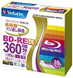 三菱化学メディア Verbatim BD-RE DL 2層式 (ハードコート仕様) くり返し録画用 50GB 1-2倍速 5mmケース 10枚パック ワイド印刷対応 ホワイトレーベル VBE260NP10V1