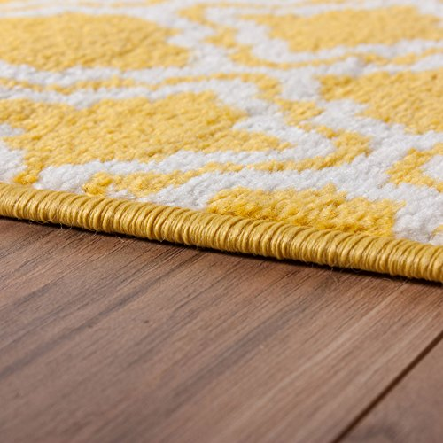 Small rug mat doormat well woven modern kids room kitchen rug calipso yellow 1 39 8 x 2 39 7 lattice - Yellow kitchen floor mats ...
