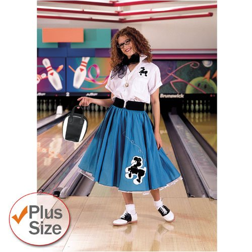 Cruisin USA 19847 Complete Poodle Skirt Outfit Plus Turquoise & White Adult Costume Size XL-1X