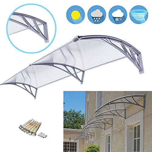 Polycarbonate Deck Awning Sun Shade Shelter Canopy For Window Door 6.5'×3.2' PC (Block Window Vent compare prices)