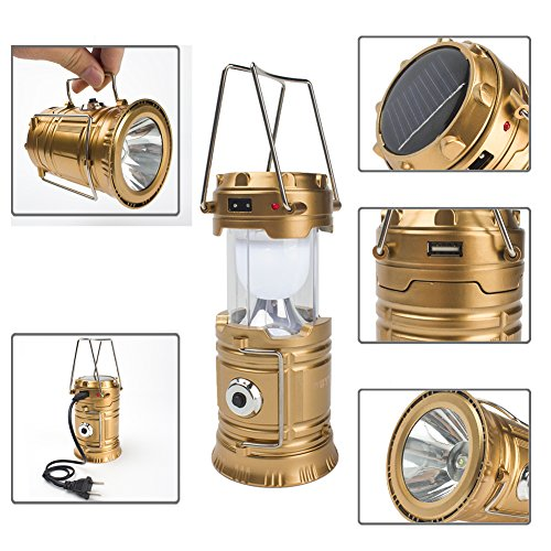 GYY 3 In 1 Solar Rechargeable Collapsible Portable LED Camping Lantern Flashlight (Gloden, Small) (Rv Kitchen Kit compare prices)