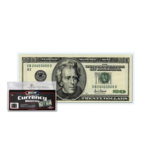 (200) Us Currency Paper Money Bill Protector Sleeves For Regular Bills By Bcw