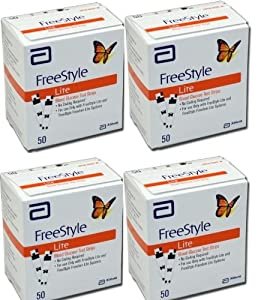 FreeStyle Lite Test Strips 200Ct. Nfrs Bundle Deal Savings (4 boxes of 50Ct = 200Ct Total)