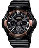 Casio #GA200RG-1A Men's XL Analog Digital Chronograph Alarm Rose Gold Trim Black G Shock Watch