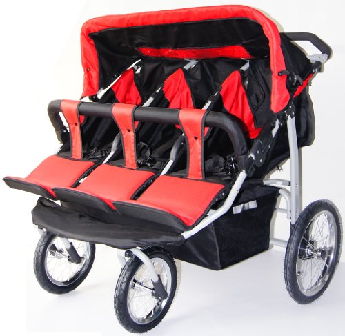 Triple Trio Baby Jogger Stroller with Rain Canopy - Free Matching Carry Bag