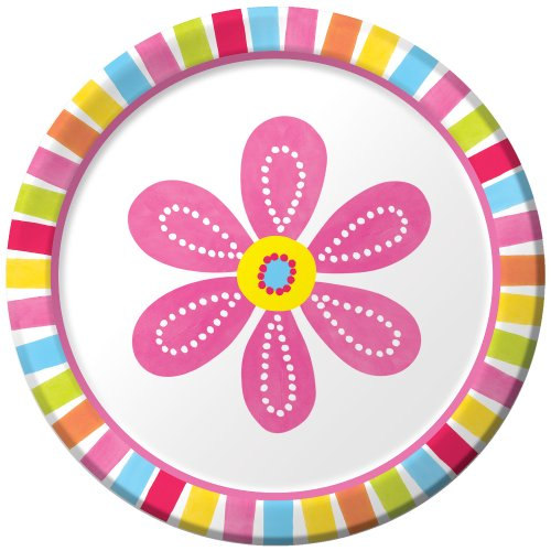Creative Converting Pink Flower Cheer 8 Count Paper Lunch Plates