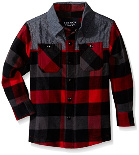 French Toast Toddler Boys L/s Flannel Shirt with Chambray Piecing, Red, 2T